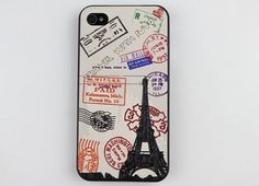 Stamps The Eiffel Tower Black Hard Case Cover for Apple iPhone 4gs Case, iPhone 4s Case, iPhone 4 Hard Case