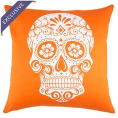 Cotton pillow in orange with a white sugar skull design. Handcrafted in the USA exclusively for Joss & Main.   Product: Pillow