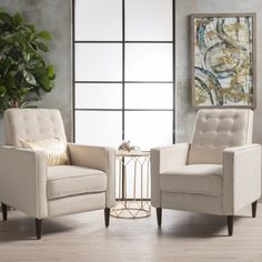 Mervynn Mid Century Fabric Recliner Club Chair Set Of 2 Christopher Knight Home pertaining to Chairs For A Living Room - Home Design Ideas Living Room Bench, Home Living Room, Living Room Furniture, Living Room Decor, Modern Furniture, Rustic Furniture, Outdoor Furniture, Plywood Furniture, Luxury Furniture