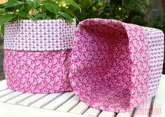 Vila do Artesão - Faça um par de cachepôs de tecido composê e use invertido ou combinando.
