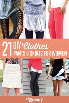 21 DIY Clothes Pants and Skirts for Women by DIY Ready at http://diyready.com/diy-clothes-pants-skirts-for-women/