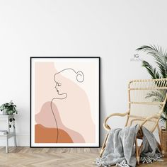Single Line Female Figure Printable One Line Drawing Woman Female Face Drawing, Abstract Faces, Easy Abstract Drawing, Teen Room Decor, Diy Canvas Art, Art Plastique, My New Room, Line Drawing, Printable Wall Art