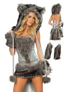 Woman Halloween Sexy Grey Wolf Costume Corset Skirt Tail Hat Gloves Leg Wormers | eBay