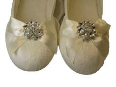 f7c92f6bea9b A Bidda Bling Wedding Shoes White Or Ivory Ballet Flats With Crystal Flower  (10