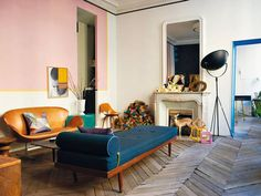 """A Midcentury """"Magical Fairy"""" Bedroom Project Intro + A Completely Reversible Paint Trend We're Trying (Emily Henderson) Pink Walls, White Walls, Fairy Bedroom, Bold Wallpaper, Interior And Exterior, Interior Design, Living Spaces, Living Room, Up House"""