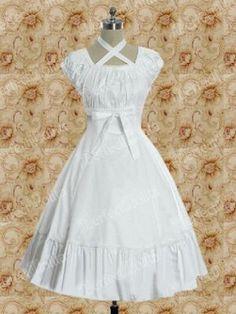 Cotton White Empire Waist Sweet Lolita Dress