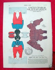Child Life 1922 Magazine Paper Doll Toy Uncle Charlie Black Americana f African American Dolls, Confederate Flag, Vintage Paper Dolls, Theatres, Large Photos, Child Life, Black Paper, African Americans, Free Prints
