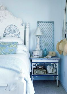 kid bedrooms, beach cottages, blue walls, color, shabby chic