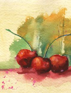 SALE Original #CHERRIES Painting gouache cherries by eastwitching, $75.00
