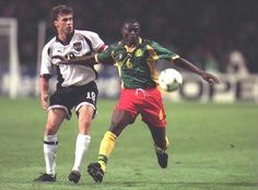 Cameroon 1 Austria 1 in 1998 in Toulouse. Pierre Njanka holds off Toni Poster in Group B #WorldCupFinals