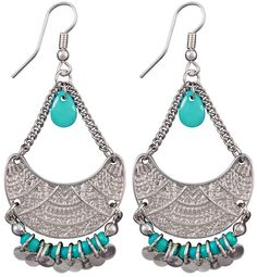 Bijou Brigitte  Drop Earrings - Turquoise Pearl