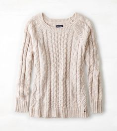 Pale Pink AEO Cable Knit Sweater
