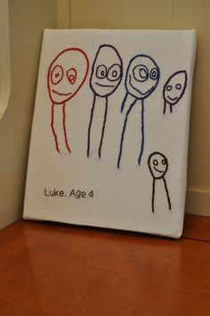 Hand Embroidered Custom Child's Drawing.  What an awesome Grandparent gift this would make!