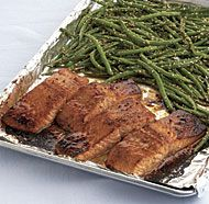 Chinese five-spice powder, honey, and soy sauce create a tasty glaze for this simple salmon dish. Broil the green beans and salmon on the same baking sheet, and you have a meal in minutes.