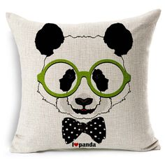 Animal Panda Head Cotton Linen Throw Pillow Case Cushion Cover Home Sofa Decorative 18 X 18 Inch ** Huge discounts available now! : Decorative Pillows