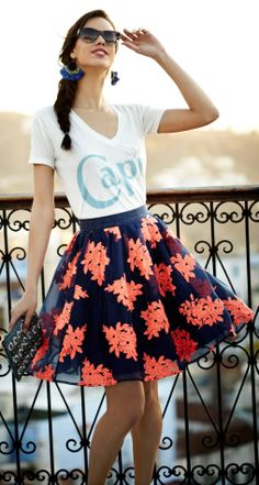 bright floral- skirt