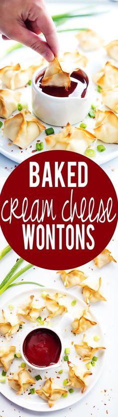Healthier crispy Baked Cream Cheese Wontons {Rangoons} and the tastiest, easiest-ever homemade sweet + sour sauce!   Creme de la Crumb