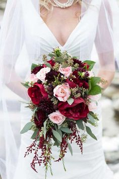 Order flowers that you want to place in your bouquet. Your bridal bouquet is going to be the very first key accessory to. If you would rather have a more compact bouquet, it is generally fine to ha… Cascading Wedding Bouquets, Fall Wedding Flowers, Bride Bouquets, Bridal Flowers, Floral Wedding, Wedding Colors, Trendy Wedding, Fall Bouquets, Winter Bouquet