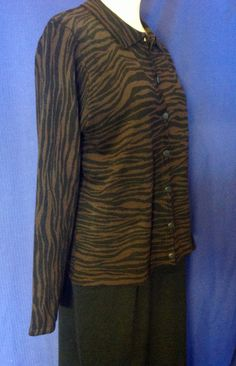 d18248211b2 LENNIE for NINA LEONARD winter Dress Sweater sz M stretch knit blk brown  Career  LennieforNinaLeonard