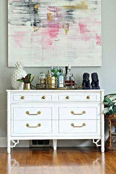 Bliss at Home :  DIY Vintage Bamboo Dresser Makeover using oil-based paint and a tip to take paint off brass hardware the easy way.