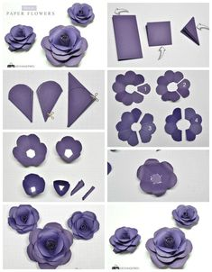 How To Make Paper Flowers - Tutorial . - Wie man Papierblumen macht – Tutorial … How to make paper flowers – tutorial of flowers… Paper Flowers Craft, Large Paper Flowers, Paper Flower Wall, Flower Crafts, Diy Flowers, Origami Flowers, Flower From Paper, Diy Paper Roses, Paper Flowers For Sale