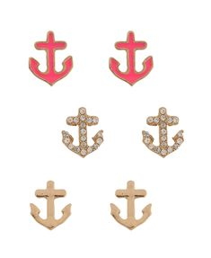 anchors, fashion, style, accessori, earring set