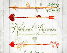 Watercolour Clipart  Arrows Natural Hand Drawn, DIY elements, hearts, flowers, invite, tribal arrows, transparent, digital png