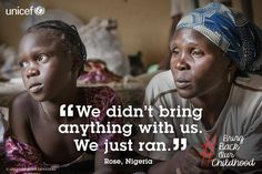 (Right) Rose Zeeharrah watched while members of Boko Haram attacked her village and began killing the men who lived there — including her husband. As she fled into the bush with her nine children… Bring Back Our Girls, Bring It On, Refugees And Asylum Seekers, Boko Haram, 2 Year Olds, Just Run, Domestic Violence, Human Rights, Equality