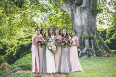 Mismatched champagne bridesmaid dresses | Vesic Photography