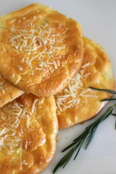 Garlic, rosemary, and Parmesan cloud bread. An easy to make, very low carb and keto snack!