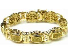 10K GOLD MENS HIP HOP DIAMOND BRACELET