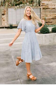 Embroidered midi dress - Adelaide midi eyelet dress in slate blue Elegant Dresses, Cute Dresses, Casual Dresses, Maxi Dresses, Formal Dresses, Summer Dresses, Awesome Dresses, Wedding Dresses, Church Dresses
