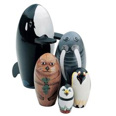 Orca Killer Whale Ocean Sea Russian Handpainted Wooden Nesting Dolls Set #BitsandPieces