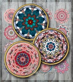 Mandala - Lips and Jeans Digital Collage Sheet,  Printable kaleidoscope images for jewelry making, and paper crafts.