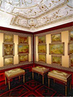 la Saleta de los cuadros bordados de Robredo, de la Casita de campo del Príncipe en el Escorial.