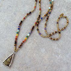Fine faceted Chakra gemstones and Hematite, Buddha necklace