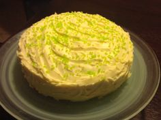 White Chocolate Mud cake for colleagues birthday with sprinkle of green sugar crystals given on St Patrick's day!