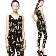 2013 Women Fashion Leopard Print Overall, Ladies Sexy Sleeveless Black Harem Jumpsuit  Free Shipping $17.98