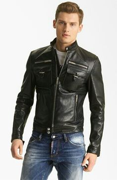 Contemporary Leather jacket and jeans look.
