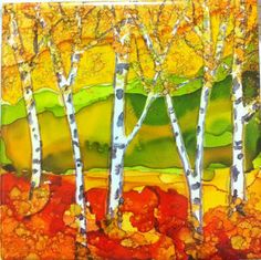 Aspen Trees in Fall - Alcohol Inks on 6inx6in Ceramic Tile
