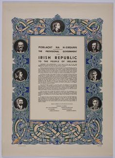 Reproduction Poster of the 1916 Proclamation - Taisclann Dhigiteach na hÉireann Ireland 1916, Easter Rising, Irish, Decor Ideas, History, Frame, Poster, Picture Frame, Historia