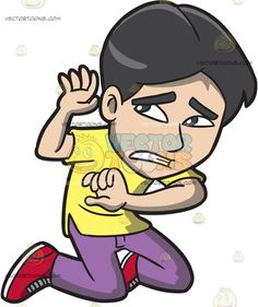 A Scared Man Kneeling Down To Protect Himself :  A man with black hair wearing a yellow shirt purple pants red with white shoes kneels down and raises his hands to shield himself from something that is making him scared  The post A Scared Man Kneeling Down To Protect Himself appeared first on VectorToons.com.