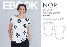 **Schnittmuster + Anleitung für ein Damen Shirt im PDF-Format**  Größe 32 - 46  Modellbeschreibung:    Nori ist ein Oberteil mit einer sanft fallenden Linie und kurzen Tulpenärmeln. Die...