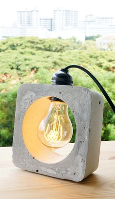 Handmade Concrete Lamp by ConcreteEverything on Etsy