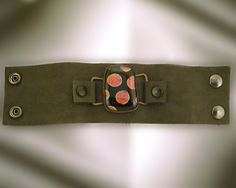 """""""Fused Glass on Leather Bracelet"""" Here is the same bracelet stretched out.  I always have loved the dicrhoic glass Bullseye puts out.   - RK Glass -"""