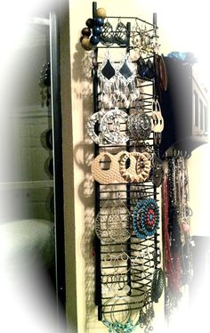 other use for a hanging CD rack - Jewel Case Tower Storage Rack as an earring holder Organizer [reuse, re-purpose] Jewellery Storage, Jewelry Organization, Jewellery Display, Storage Organization, Storage Rack, Army Crafts, Keep Jewelry, Diy Jewelry, Hanging Earrings
