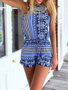 853d8fde3097 Playsuit Boho Style Romper in Blue is casual sexy and perfect to wear on  the…