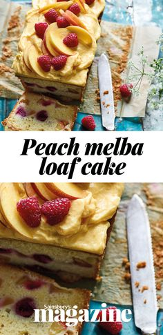 Try our summer peach melba loaf cake for a weekend baking project. Sweet Loaf Recipe, Recipe Box, Sweet Recipes, Loaf Recipes, Cake Recipes, Peach Butter, British Desserts, Peach Melba, Cupcake Cakes