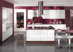 Enchanting Maroon Kitchen With White Gloosy Modern Kitchen Cabinet With Granite…