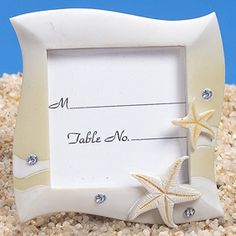 Sand Colored Beach Themed Place Card Frame (Cassiani Collection 5551) | Buy at Wedding Favors Unlimited (http://www.weddingfavorsunlimited.com/sand_colored_beach_place_card_frame.html).